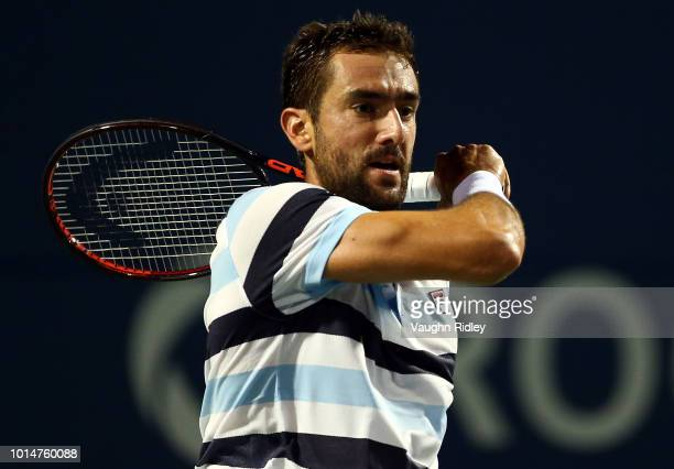 Marin Cilic of Croatia plays a shot against Rafael Nadal of Spain during a quarter final match on Day 5 of the Rogers Cup at Aviva Centre on August...