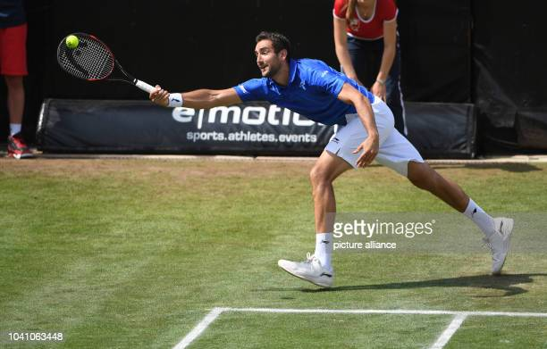 Marin Cilic of Croatia plays against Stepanek of the Czech Republic during the ATPtennis tournament at the Weissenhof in Stuttgart Germany 09 June...
