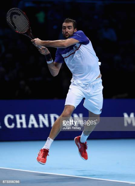 Marin Cilic of Croatia plays in action in his match against Alexander Zverev of Germany during day one of the Nitto ATP World Tour Finals tennis at...