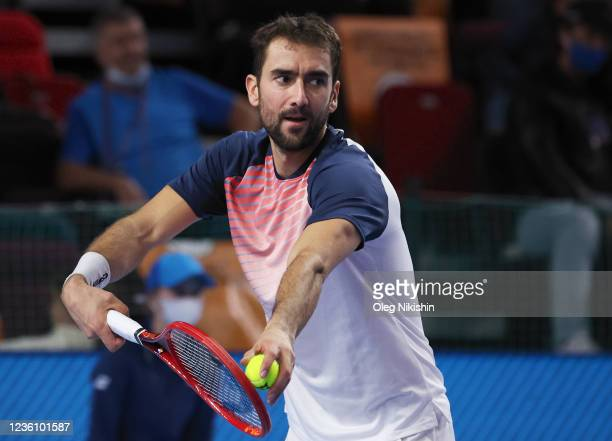 Marin Cilic of Croatia plays their men's final match against Aslan Karatsev of Russia during on Day Seven of the VTB Kremlin Cup at Central court of...