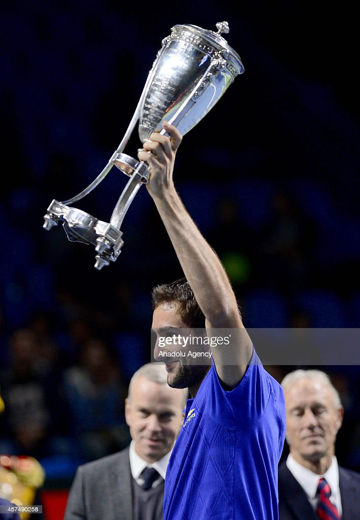 Marin Cilic of Croatia poses with his trophy after defeating Roberto Bautista Agut of Spain on the final match of the Kremlin Cup 2014 International Tennis Tournament at the Olympic Stadium in Moscow, Russia on October 19, 2014.