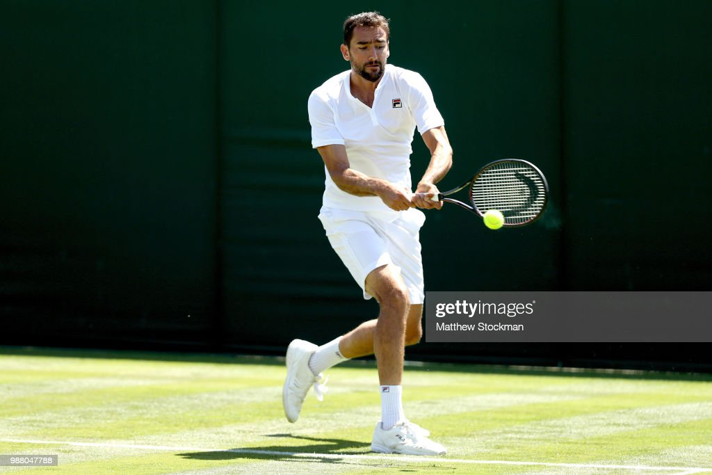 Marin Cilic of Croatia practices on court during training for the Wimbledon Lawn Tennis Championships at the All England Lawn Tennis and Croquet Club at Wimbledon on June 30, 2018 in London, England.
