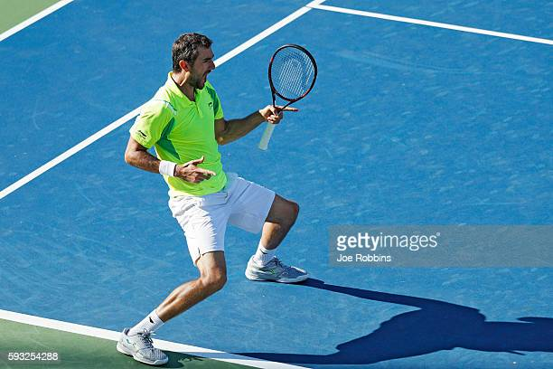 Marin Cilic of Croatia reacts after defeating Andy Murray of Great Britain in the men's singles final on Day 9 of the Western Southern Open at the...