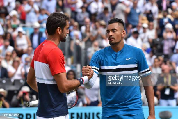 Marin Cilic of Croatia reacts after victory to Nick Kyrgios of Australia during their semi final match on day six of the FeverTree Championships at...