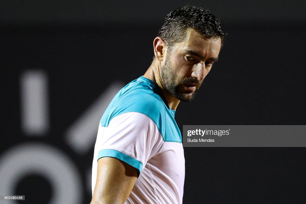 Marin Cilic of Croatia reacts during a match against Gael Monfils of France during the ATP Rio Open 2018 at Jockey Club Brasileiro on February 21, 2018 in Rio de Janeiro, Brazil.