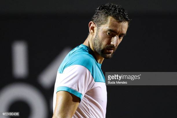 Marin Cilic of Croatia reacts during a match against Gael Monfils of France during the ATP Rio Open 2018 at Jockey Club Brasileiro on February 21...