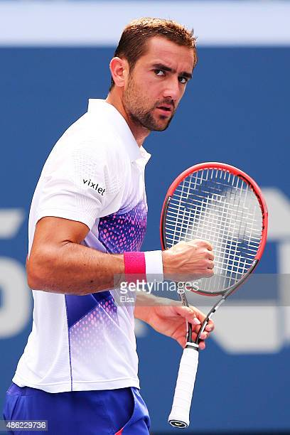 Marin Cilic of Croatia reacts during his Men's Singles Second Round match against Evgeny Donskoy of Russia on Day Three of the 2015 US Open at the...