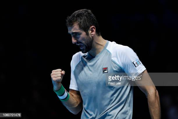 Marin Cilic of Croatia reacts during his singles round robin match against Alexander Zverev of Germany during Day Two of the Nitto ATP Finals at The...