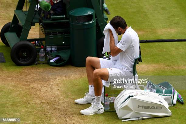 Marin Cilic of Croatia reacts in defeat after the Gentlemen's Singles final against Roger Federer of Switzerland on day thirteen of the Wimbledon...
