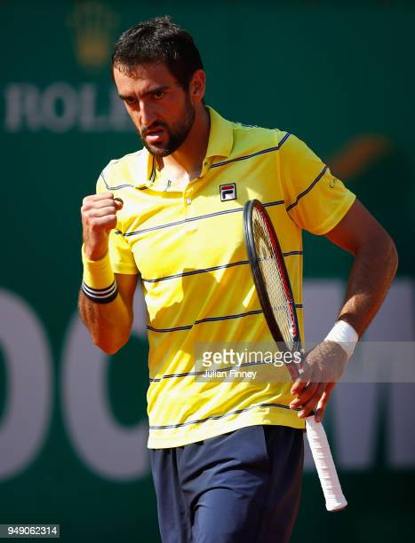 Marin Cilic of Croatia reacts in his singles match against Kei Nishikori of Japan during day six of ATP Masters Series Monte Carlo Rolex Masters at...