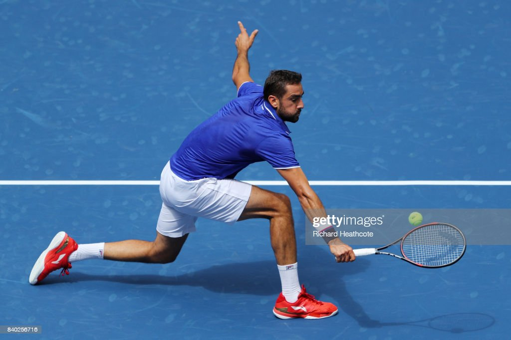 Marin Cilic of Croatia returns a shot during his first round Men's Singles match against Tennys Sandgren of the United States on Day One of the 2017 US Open at the USTA Billie Jean King National Tennis Center on August 28, 2017 in the Flushing neighborhood of the Queens borough of New York City.