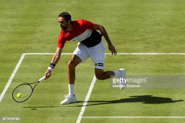 Marin Cilic of Croatia returns a shot during his men's singles match against Fernando Verdasco of Spain during Day One of the FeverTree Championships...