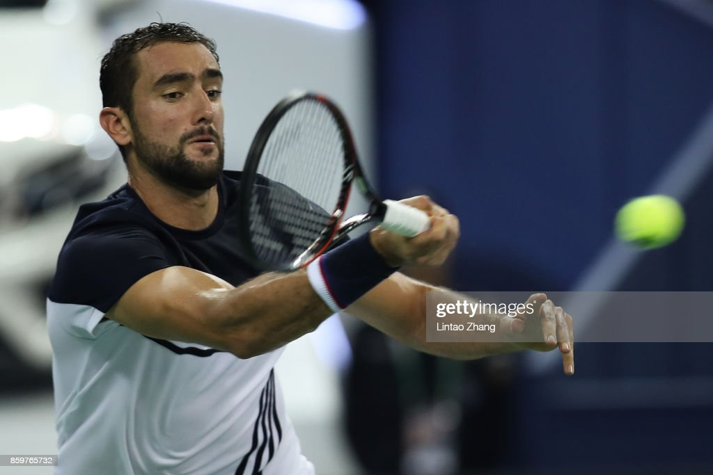 Marin Cilic of Croatia returns a shot during the Men's singles mach against Kyle Edmund of Great Britain on day three of 2017 ATP Shanghai Rolex Masters at Qizhong Stadium on October 10, 2017 in Shanghai, China.