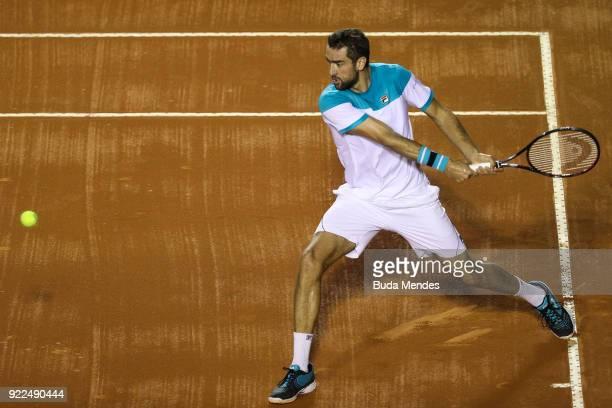 Marin Cilic of Croatia returns a shot to Gael Monfils of France during the ATP Rio Open 2018 at Jockey Club Brasileiro on February 21 2018 in Rio de...