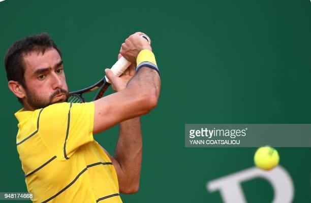 Marin Cilic of Croatia returns the ball to Fernando Verdasco of Spain during the MonteCarlo ATP Masters Series Tournament on April 18 2018 in Monaco...