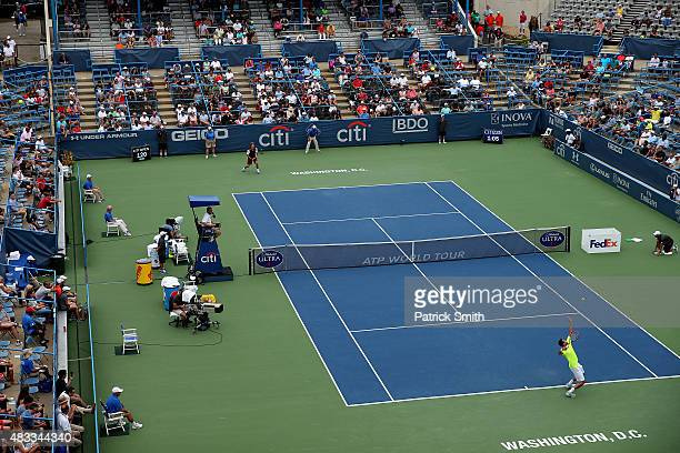 Marin Cilic of Croatia serves a shot to Alexander Zverev of Germany during the Citi Open at Rock Creek Park Tennis Center on August 7 2015 in...