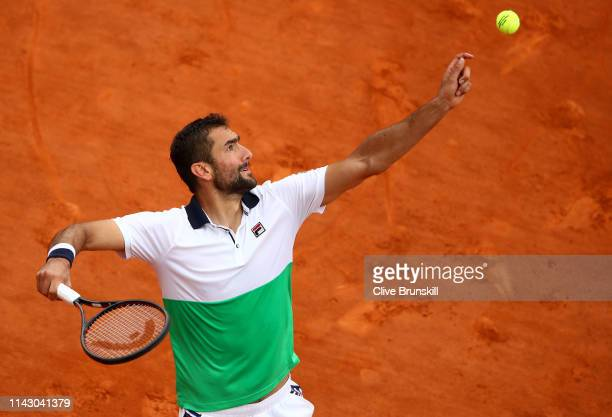 Marin Cilic of Croatia serves against Guido Pella of Argentina in their second round match during day 3 of the Rolex MonteCarlo Masters at MonteCarlo...