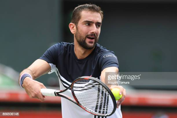 Marin Cilic of Croatia serves against Stefanos Tsitsipas of Greece during day one of the Rakuten Open at Ariake Coliseum on October 2 2017 in Tokyo...