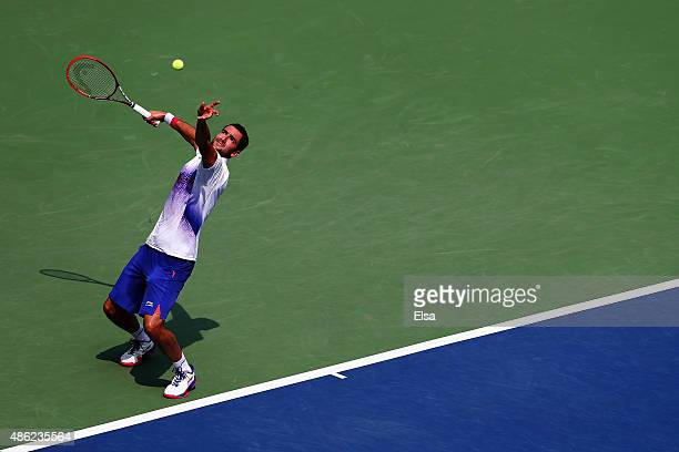 Marin Cilic of Croatia serves during his Men's Singles Second Round match against Evgeny Donskoy of Russia on Day Three of the 2015 US Open at the...