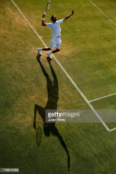 Marin Cilic of Croatia serves during the Men's Singles semi final match against Lleyton Hewitt of Australia on day six of the AEGON Championships at...