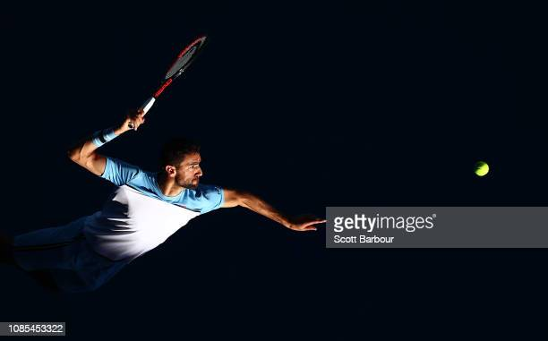 Marin Cilic of Croatia serves in his fourth round match against Roberto Bautista Agut of Spain during day seven of the 2019 Australian Open at...