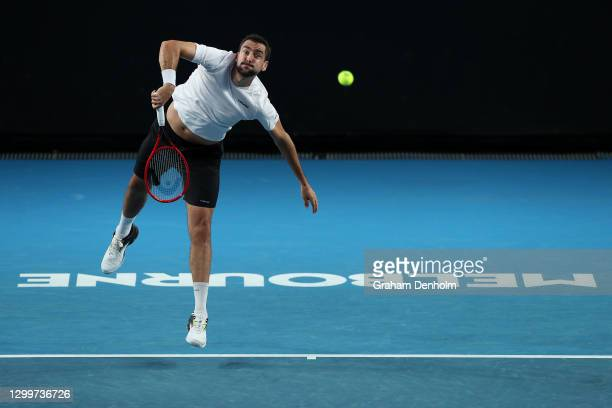 Marin Cilic of Croatia serves in his match against Jeremy Chardy of France during day one of the ATP 250 Murray River Open at Melbourne Park on...