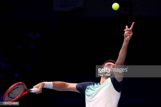Marin Cilic of Croatia serves in his Men's Singles Semifinals match against Alexei Popyrin of Australia on day six of the Singapore Tennis Open at...