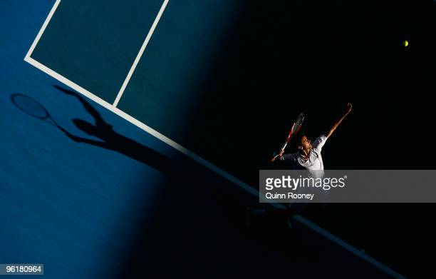 Marin Cilic of Croatia serves in his quarterfinal match against Andy Roddick of the United States of America during day nine of the 2010 Australian...