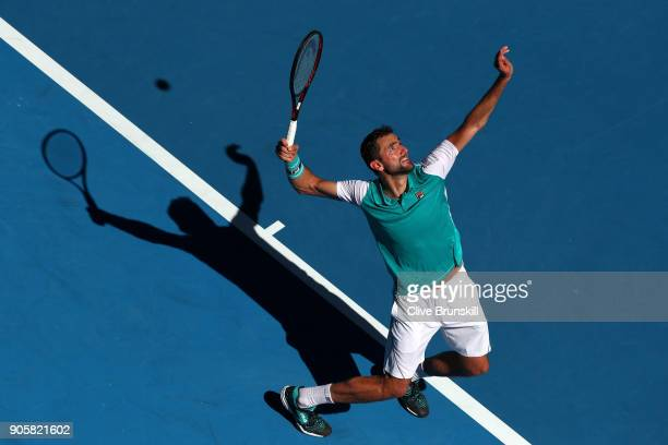 Marin Cilic of Croatia serves in his second round match against Joao Sousa of Portugal on day three of the 2018 Australian Open at Melbourne Park on...