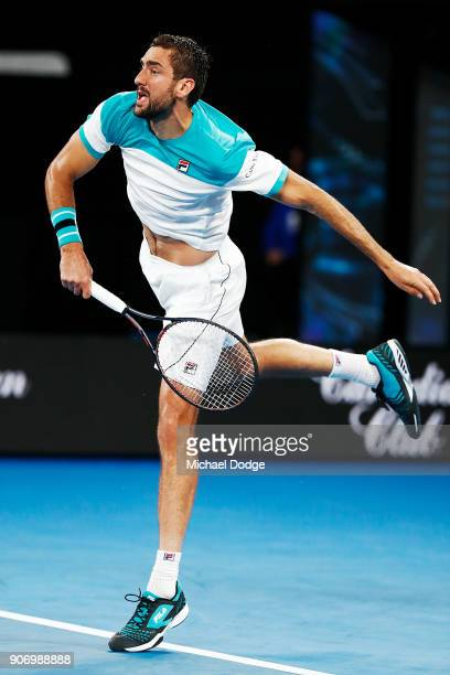 Marin Cilic of Croatia serves in his third round match against Ryan Harrison of the USA on day five of the 2018 Australian Open at Melbourne Park on...