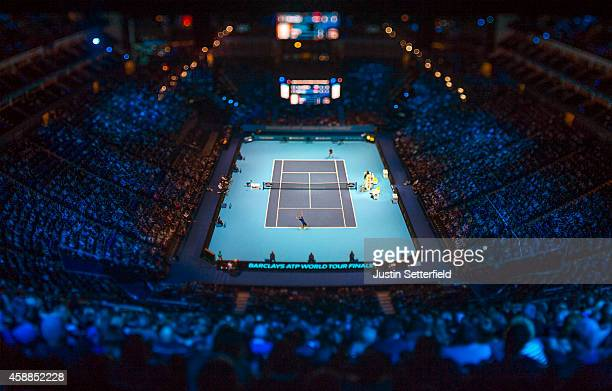 Marin Cilic of Croatia serves in the round robin singles match against Tomas Berdych of Czech Republic on day four of the Barclays ATP World Tour...