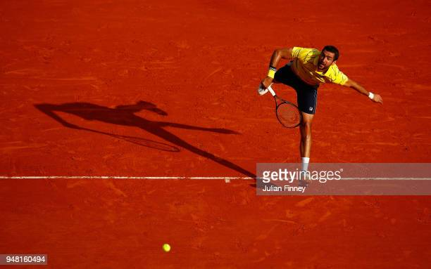Marin Cilic of Croatia serving during his Mens Singles match against Fernando Verdasco of Spain at MonteCarlo Sporting Club on April 18 2018 in...
