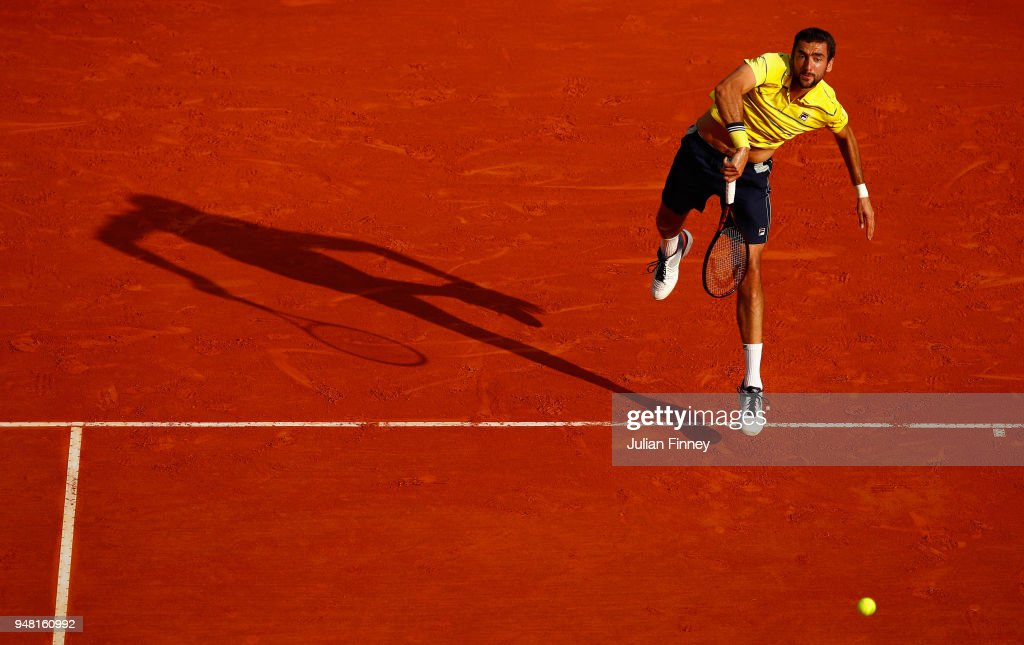 Marin Cilic of Croatia serving during his Mens Singles match against Fernando Verdasco of Spain at Monte-Carlo Sporting Club on April 18, 2018 in Monte-Carlo, Monaco.