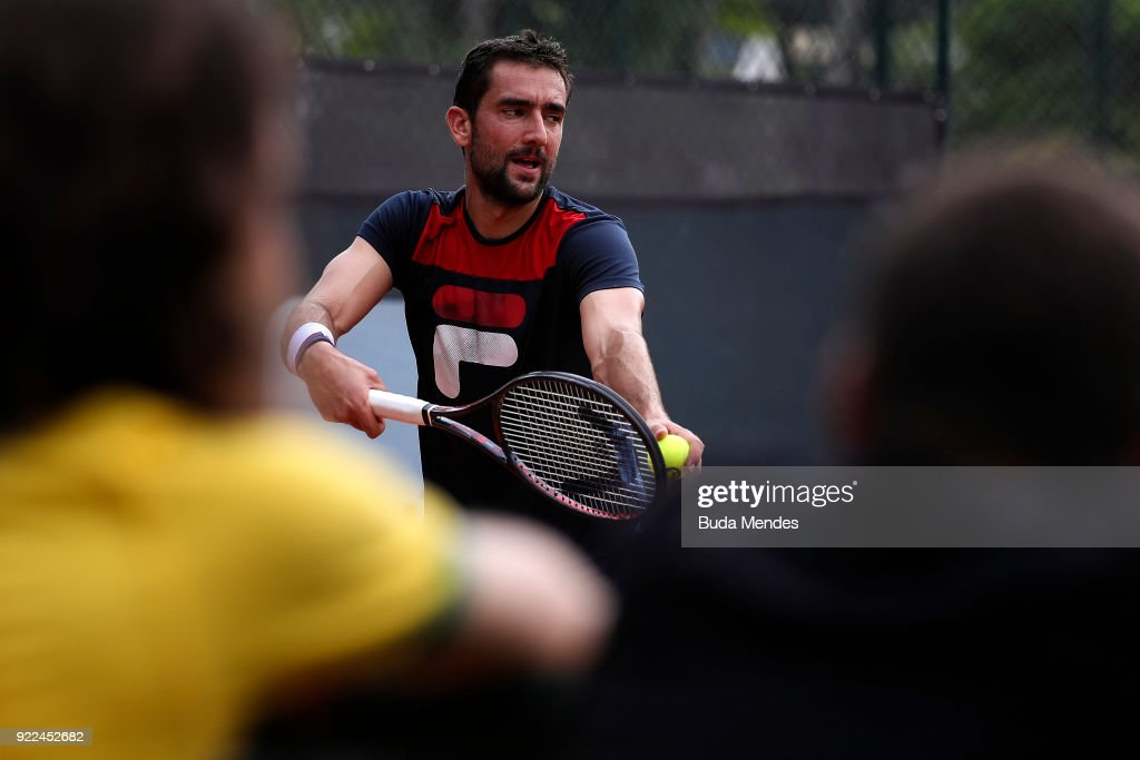 Marin Cilic of Croatia trains during a practice session ahead of the ATP Rio Open 2018 at Jockey Club Brasileiro on February 21, 2018 in Rio de Janeiro, Brazil.
