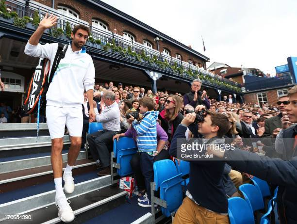 Marin Cilic of Croatia walks out of the clubhouse prior to the Men's Singles final against Andy Murray of Great Britain on day seven of the AEGON...