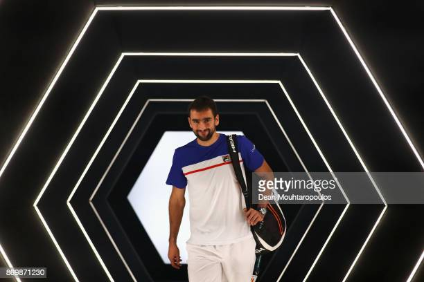 Marin Cilic of Croatia walks out the players tunnel prior to his match against Julien Benneteau of France during Day 5 of the Rolex Paris Masters...