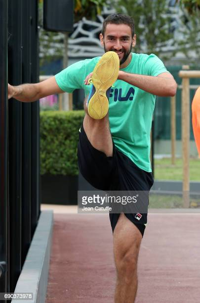 Marin Cilic of Croatia warms up at practice on day 3 of the 2017 French Open second Grand Slam of the season at Roland Garros stadium on May 30 2017...