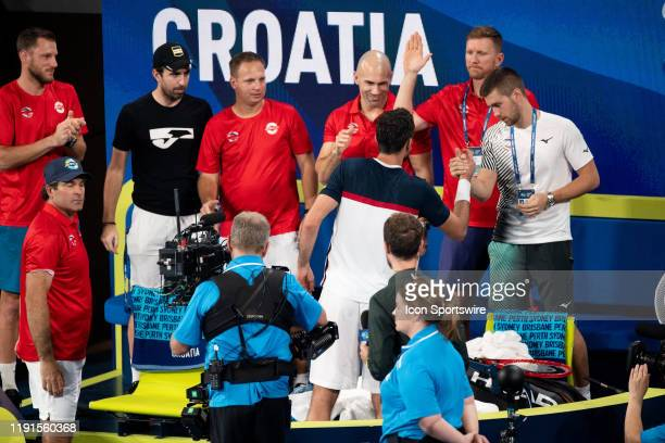 Marin Cilic of Croatia with his team after his win on day two of the Group singles match at the 2020 ATP Cup Tennis at Ken Rosewall Arena on January...