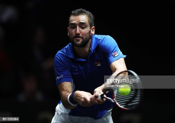 Marin Cilic of Team Europe plays a backhand during his singles match against Frances Tiafoe of Team World on the first day of the Laver Cup on...
