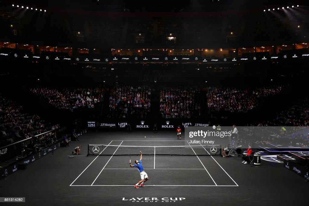 Marin Cilic of Team Europe serves during his singles match against Frances Tiafoe of Team World on the first day of the Laver Cup on September 22, 2017 in Prague, Czech Republic. The Laver Cup consists of six European players competing against their counterparts from the rest of the World. Europe will be captained by Bjorn Borg and John McEnroe will captain the Rest of the World team. The event runs from 22-24 September.