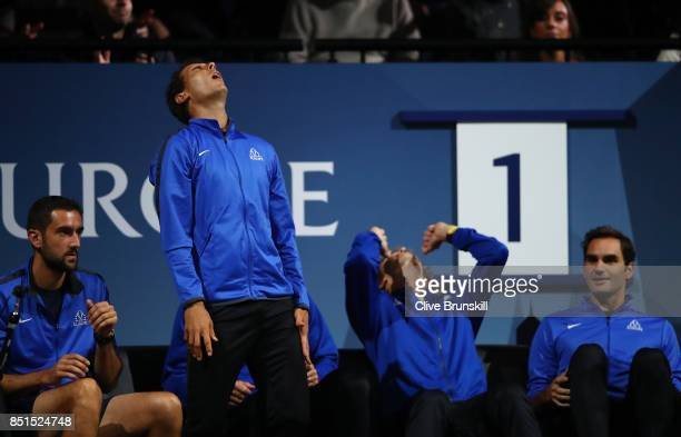 Marin Cilic Rafael Nadal Alexander Zverev and Roger Federer of Team Europe react as they watch the singles match between Dominic Thiem of Team Europe...