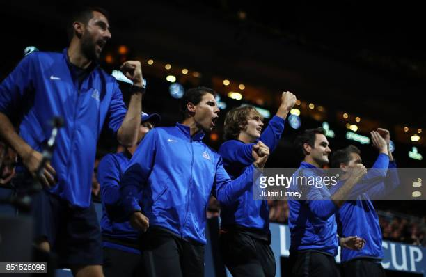 Marin Cilic Rafael Nadal Alexander Zverev Roger Federer and Thomas Enqvist of Team Europe celebrate as they watch the singles match between Dominic...