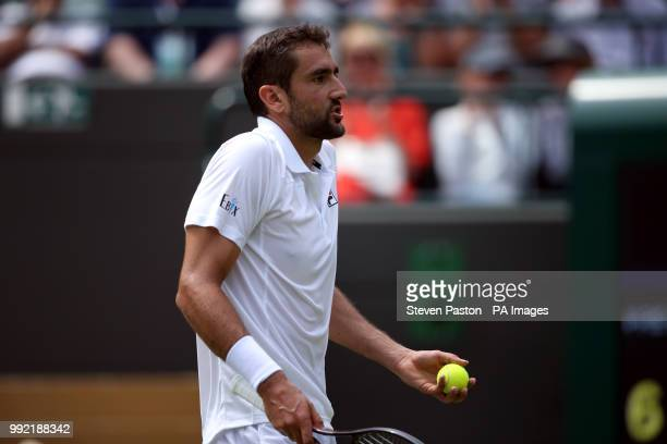 Marin Cilic reacts on day four of the Wimbledon Championships at the All England Lawn Tennis and Croquet Club Wimbledon