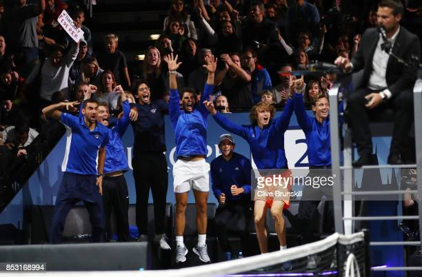 Marin Cilic Thomas Enqvist Fernando Verdasco Rafael Nadal Dominic Thiem Alexander Zverev and Tomas Berdych of Team Europe celebrates with Team Europe...
