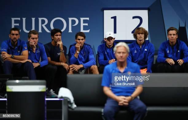 Marin Cilic Thomas Enqvist Fernando Verdasco Rafael Nadal Dominic Thiem Alexander Zverev and Tomas Berdych of Team Europe sit on the bench as they...