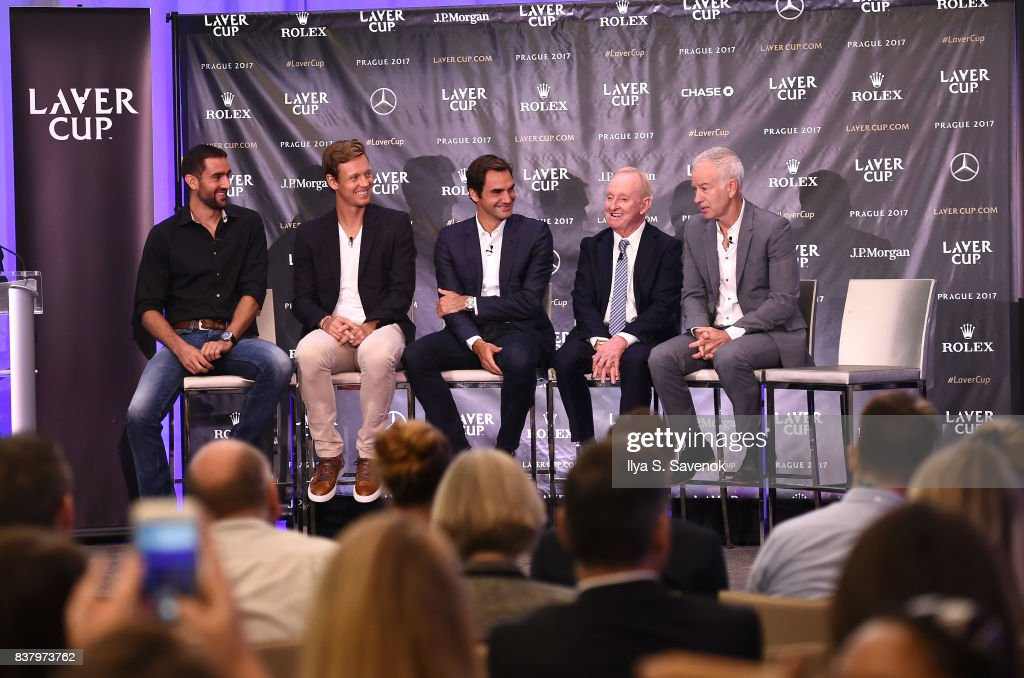Marin Cilic, Tomas Berdych, Roger Federer, Rod Laver and John McEnroe attend Laver Cup Team Announcement on August 23, 2017 in New York City.