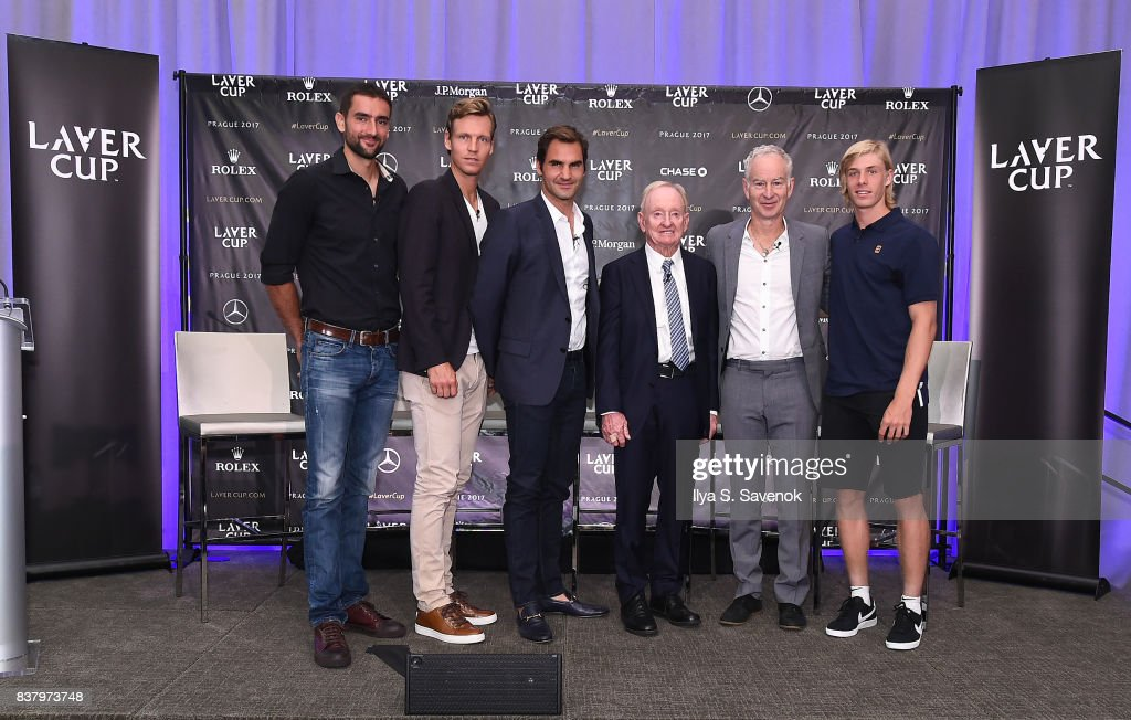 Marin Cilic, Tomas Berdych, Roger Federer, Rod Laver, John McEnroe and Denis Shapovalov attend Laver Cup Team Announcement on August 23, 2017 in New York City.