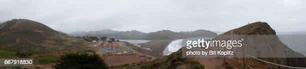 marin headlands in panorama - military base stock pictures, royalty-free photos & images