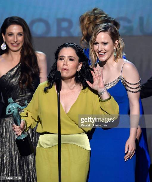 Marin Hinkle Alex Borstein and Rachel Brosnahan accept Outstanding Performance by an Ensemble in a Comedy Series for 'The Marvelous Mrs Maisel'...