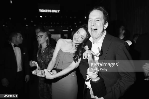 Marin Hinkle and Brian Tarantina winners of Outstanding Performance by an Ensemble in a Comedy Series for 'The Marvelous Mrs Maisel' attend the 25th...